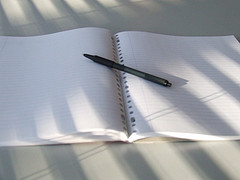 The horror of the blank page. At least the notebook's open! (Photo by Vince Kusters.)