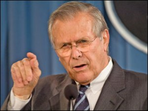 Donald Rumsfeld, secret wordsmith of the Pentagon.