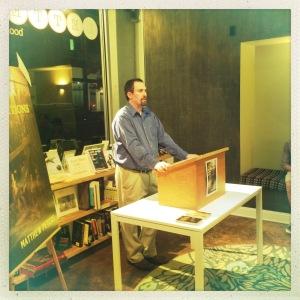 Matthew Peters at Letters Bookshop (photo by Chris Hoerter).